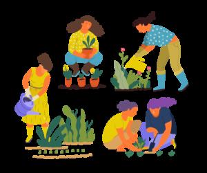 People summer gardening