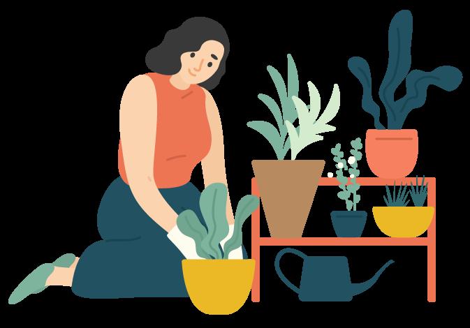 happy girl taking care of houseplants