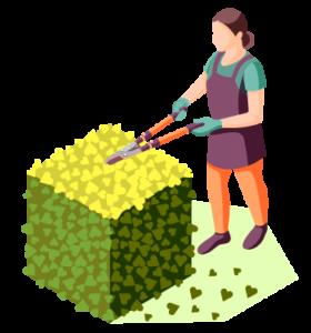icon of woman trimming a shrub